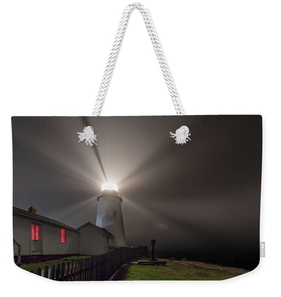 Foggy Night At Pemaquid Point Lighthouse Weekender Tote Bag