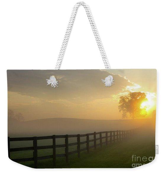 Foggy Pasture Sunrise Weekender Tote Bag