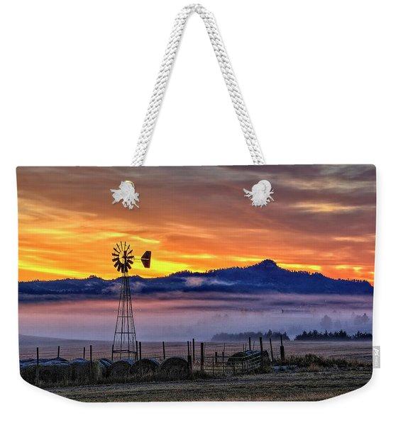 Foggy Spearfish Sunrise Weekender Tote Bag