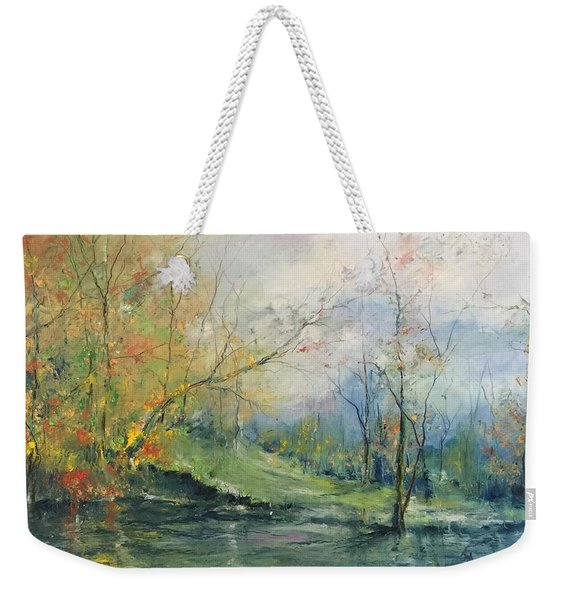 Foliage Flames On The River Weekender Tote Bag