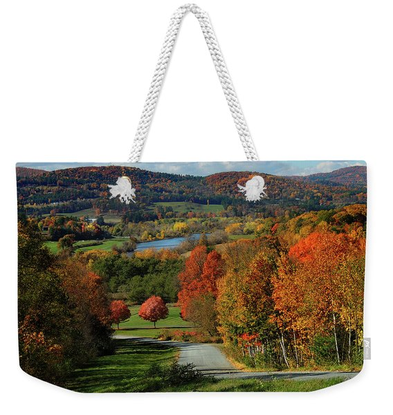 Foliage View Of Connecticut River From Piermont New Hampshire Weekender Tote Bag
