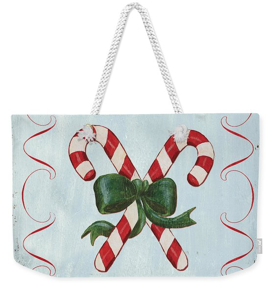Folk Candy Cane Weekender Tote Bag