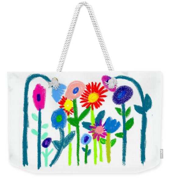 Weekender Tote Bag featuring the pastel Folk Garden by Bee-Bee Deigner