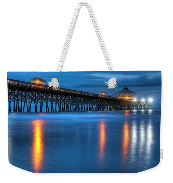 Folly Beach Pier At Blue Hour Charleston South Carolina Weekender Tote Bag