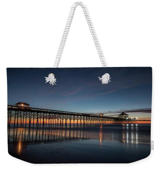 Folly Beach Pier Before Sunrise Weekender Tote Bag