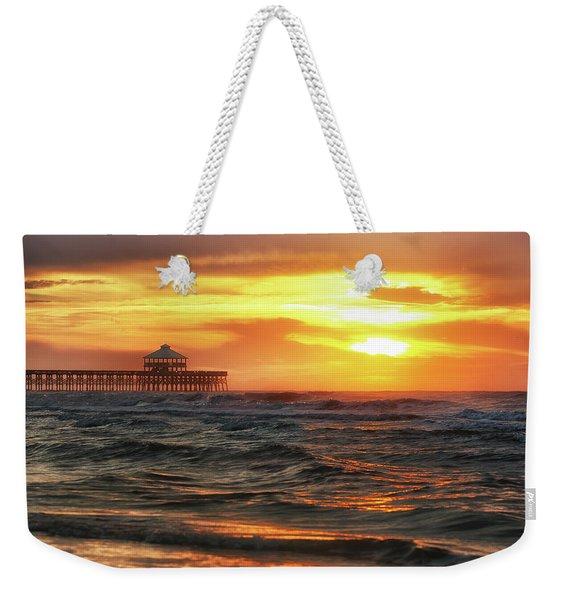 Folly Beach Pier Sunrise Weekender Tote Bag