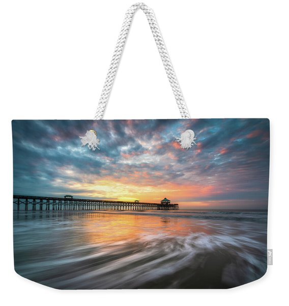 Folly Beach Sc Ocean Seascape Charleston South Carolina Scenic Landscape Weekender Tote Bag