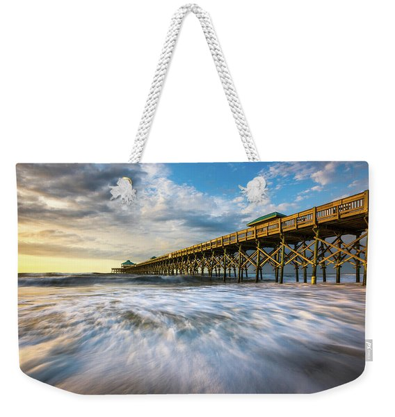 Folly Beach Sc Pier Charleston South Carolina Seascape Weekender Tote Bag