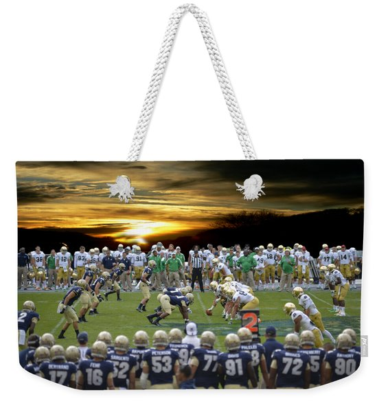 Football Field-notre Dame-navy Weekender Tote Bag