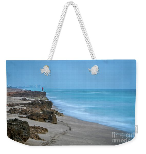 Weekender Tote Bag featuring the photograph Footprints And Rocks by Tom Claud