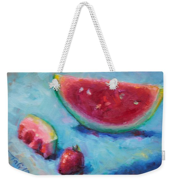 Weekender Tote Bag featuring the painting Forbidden Fruit by Talya Johnson
