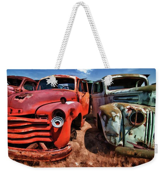 Ford And Chevy Standoff Weekender Tote Bag
