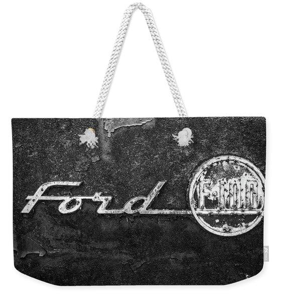 Ford F-100 Emblem On A Rusted Hood Weekender Tote Bag