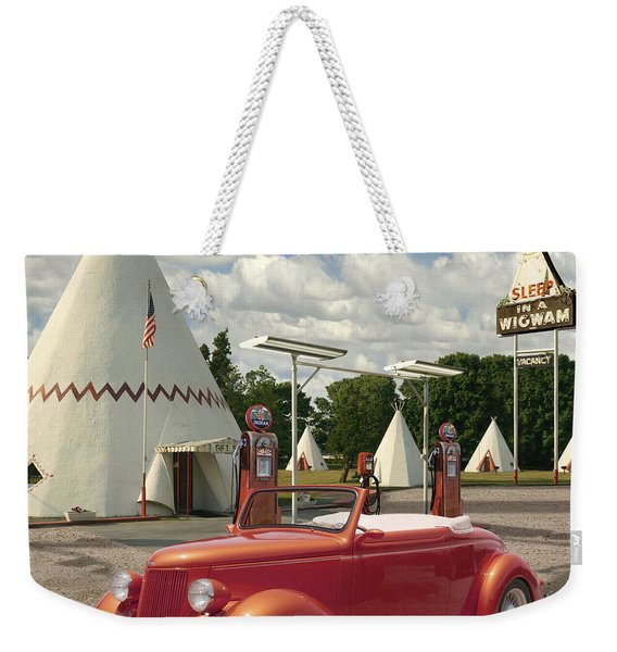 Ford Roadster At An Indian Gas Station 2 Weekender Tote Bag