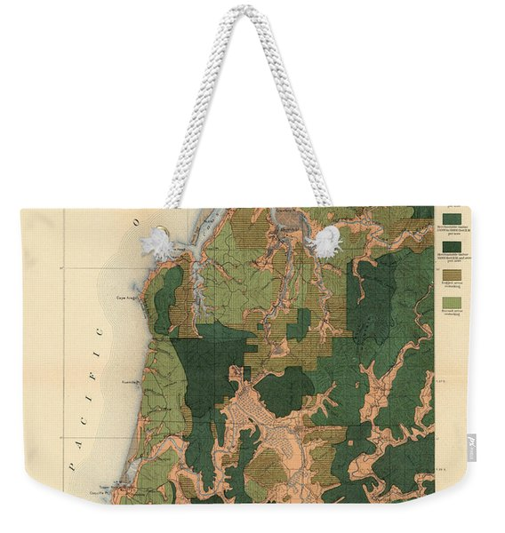 Forest Cover Map 1886-87 - Coos Bay Quadrangle - Oregon - Geological Map Weekender Tote Bag