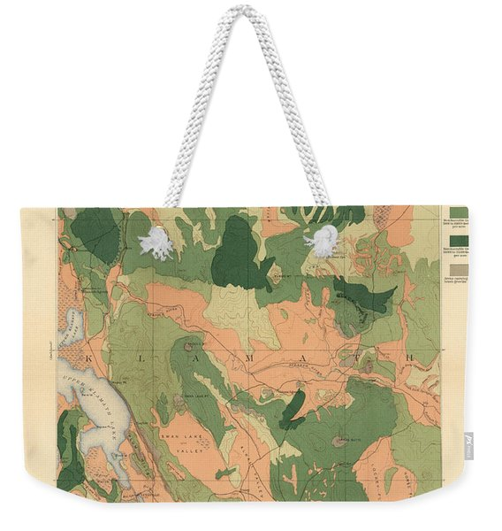 Forest Cover Map 1886-87 - Oregon Klamath Quadrangle - Geological Map Weekender Tote Bag