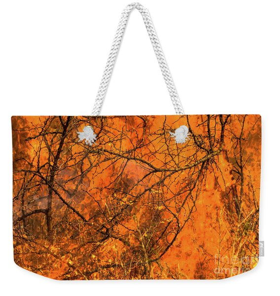 Weekender Tote Bag featuring the photograph Forest Fire by Benny Marty