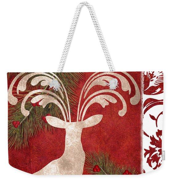 Forest Holiday Christmas Deer Weekender Tote Bag