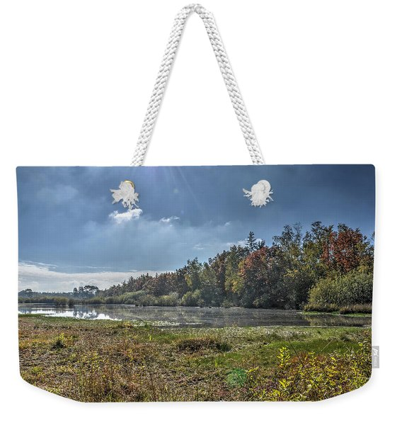 Forest Lake In Autumn Weekender Tote Bag