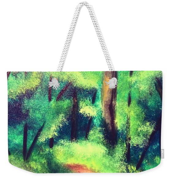 Weekender Tote Bag featuring the painting Forest Path by Denise Tomasura