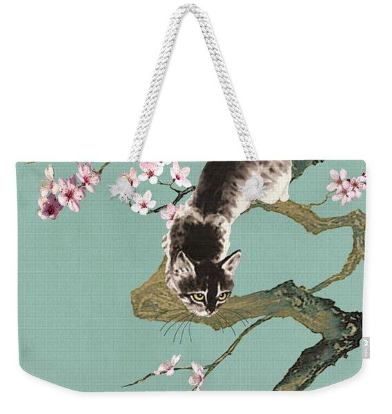 Fortune Cat In Cherry Tree Weekender Tote Bag