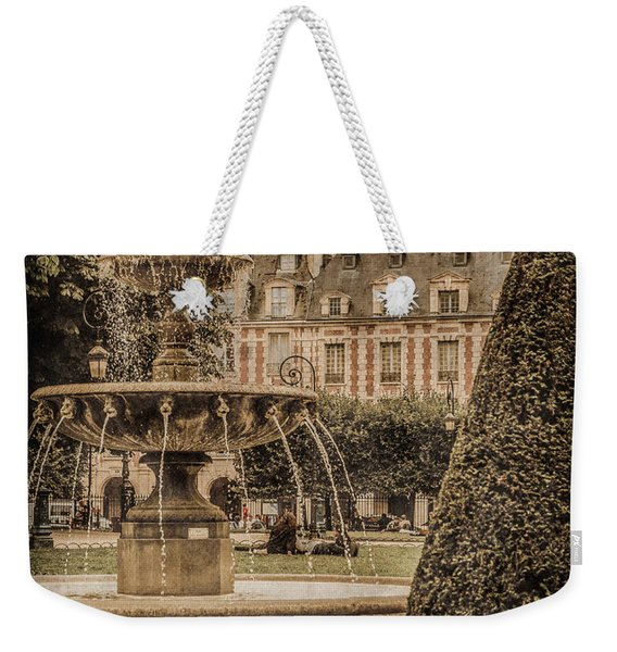 Paris, France - Fountain, Place Des Vosges Weekender Tote Bag