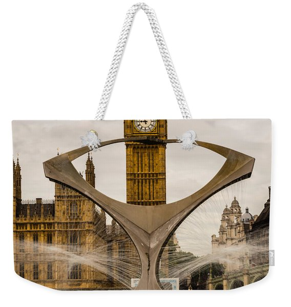 Fountain With Big Ben Weekender Tote Bag
