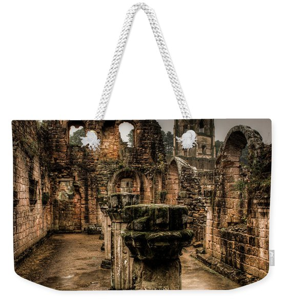 Fountains Abbey In Pouring Rain Weekender Tote Bag