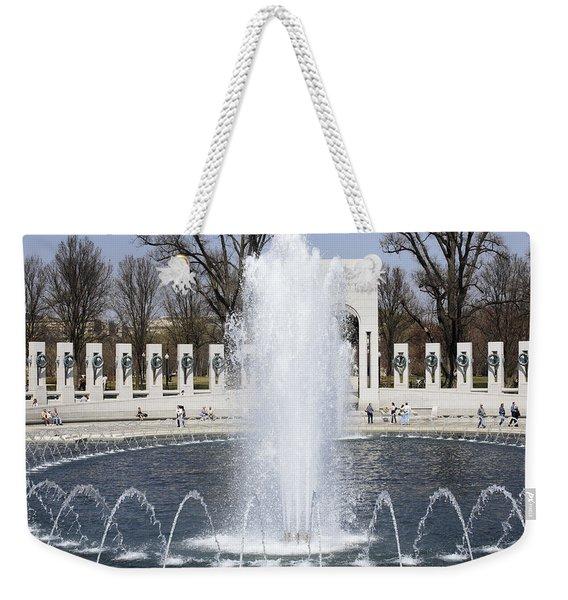 Fountains At The World War II Memorial In Washington Dc Weekender Tote Bag