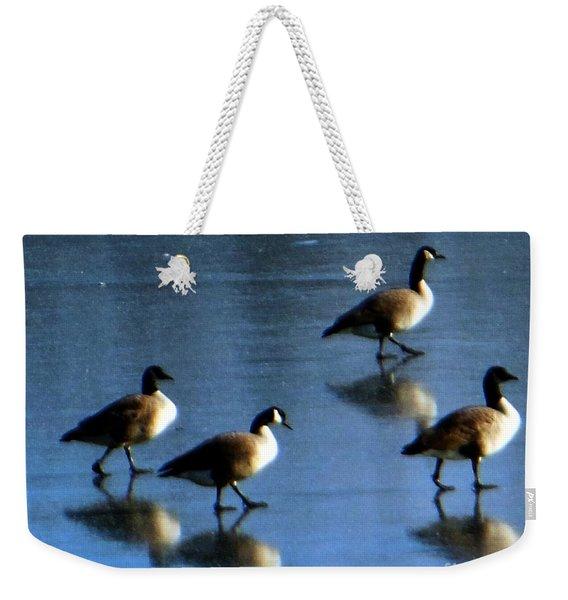 Four Geese Walking On Ice Weekender Tote Bag