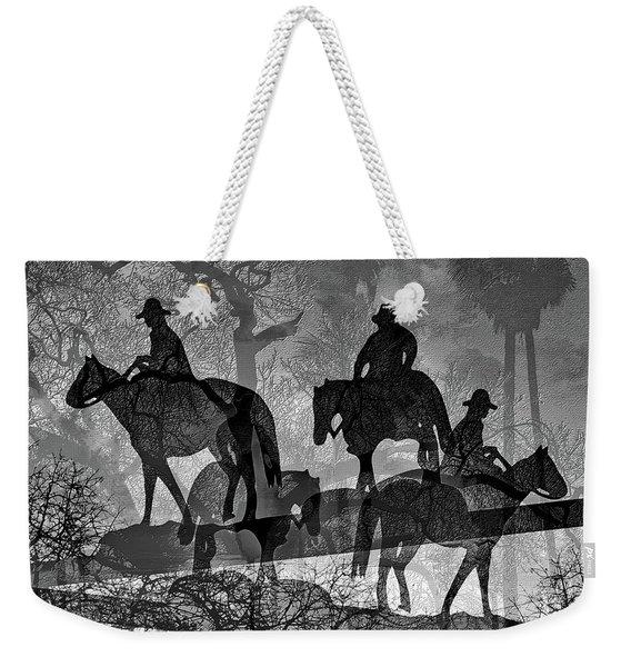Weekender Tote Bag featuring the digital art Four Horsemen Black And White by Visual Artist Frank Bonilla