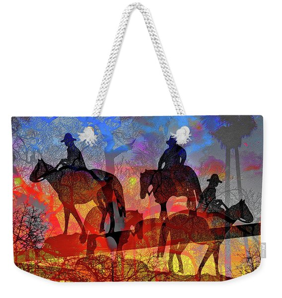 Weekender Tote Bag featuring the digital art Four Horsemen by Visual Artist Frank Bonilla