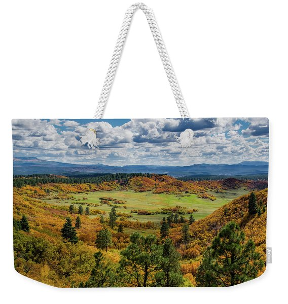 Weekender Tote Bag featuring the photograph Four Mile Road Peak Color by Jason Coward