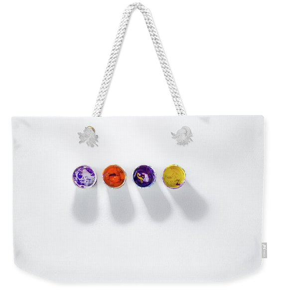 Four Small Containers Of Paint Weekender Tote Bag