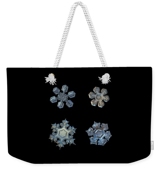 Four Snowflakes On Black 2 Weekender Tote Bag