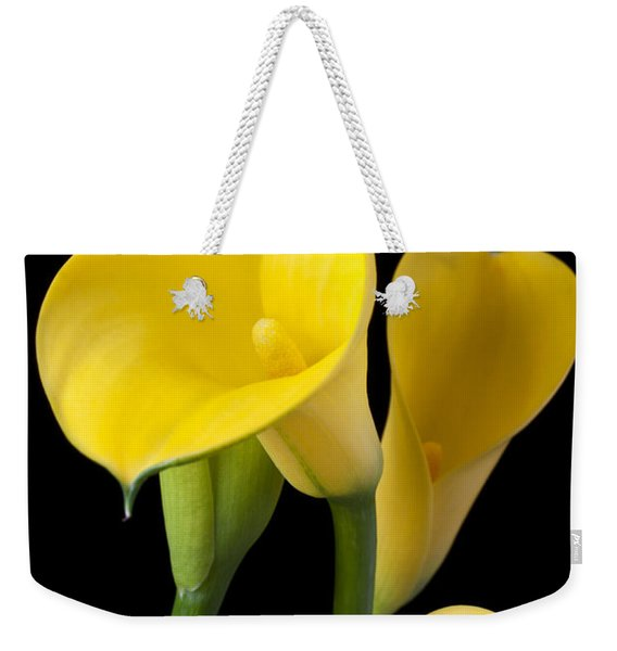 Four Yellow Calla Lilies Weekender Tote Bag
