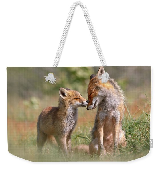 Fox Felicity II - Mother And Fox Kit Showing Love And Affection Weekender Tote Bag