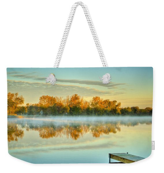 Fox River Above Mchenry Dam At Sunrise Weekender Tote Bag