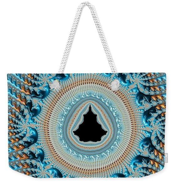 Fractal Art Crochet Style Blue And Gold Weekender Tote Bag