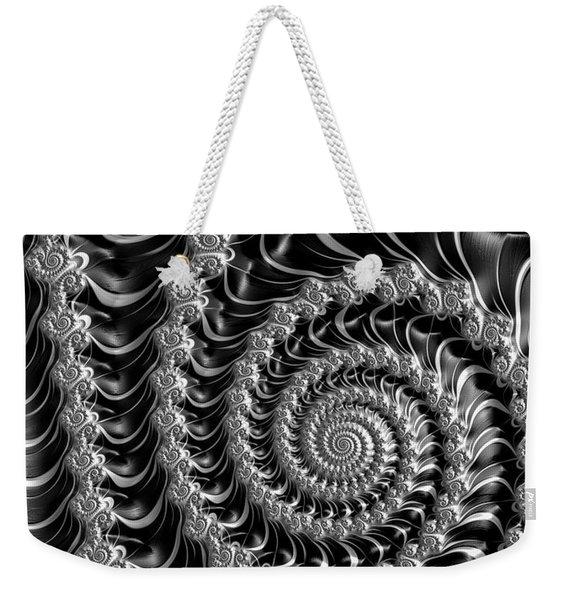 Fractal Spiral Gray Silver Black Steampunk Style Weekender Tote Bag