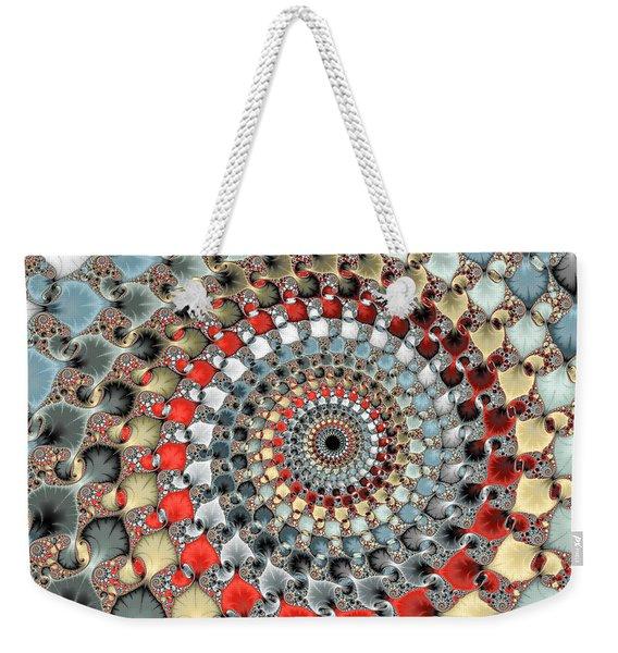 Fractal Spiral Red Grey Light Blue Square Format Weekender Tote Bag