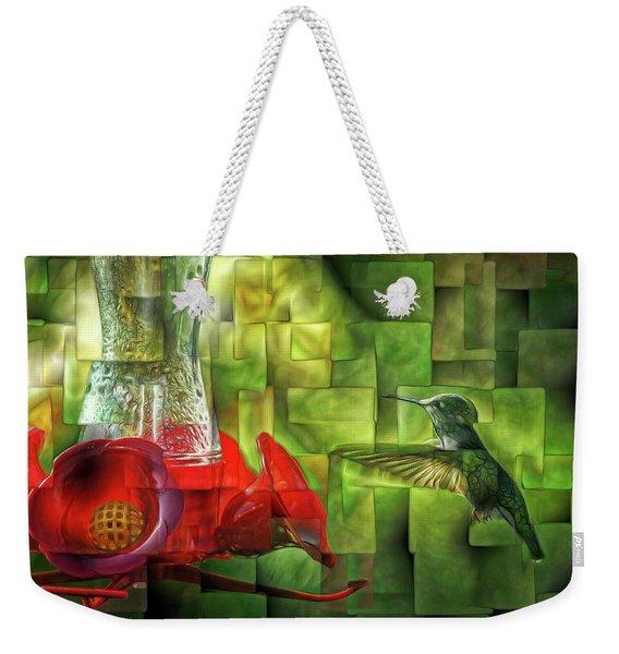Fractured Hummingbird Weekender Tote Bag