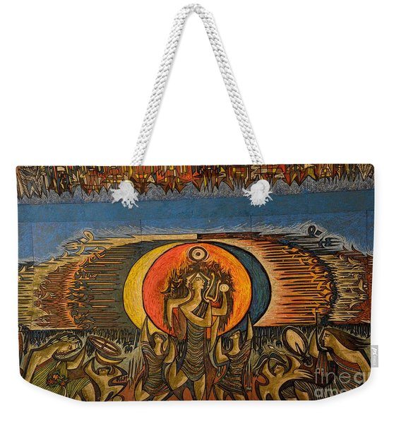 Fragment Of Ceiling Mural Painting By Artist Sadequain At Frere Hall Karachi Pakistan Weekender Tote Bag