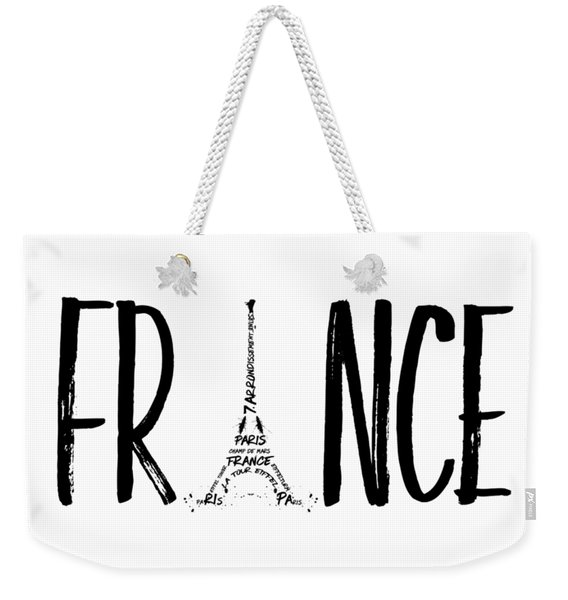 France Typography Weekender Tote Bag