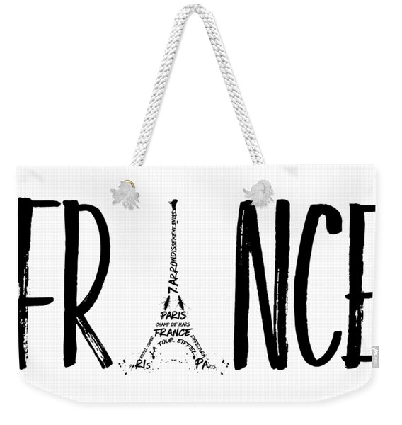 France Typography Panoramic Weekender Tote Bag