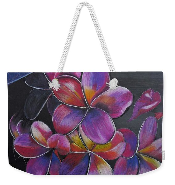 Weekender Tote Bag featuring the pastel Frangipani  by Richard Le Page