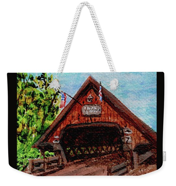 Frankenmuth Michigan Wooden Bridge Impressionistic Landscape Xi Weekender Tote Bag