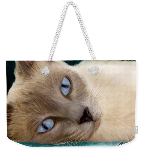 Frankie Blue Eyes Weekender Tote Bag