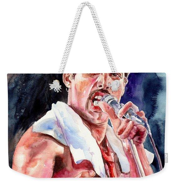 Freddie Mercury Singing Weekender Tote Bag