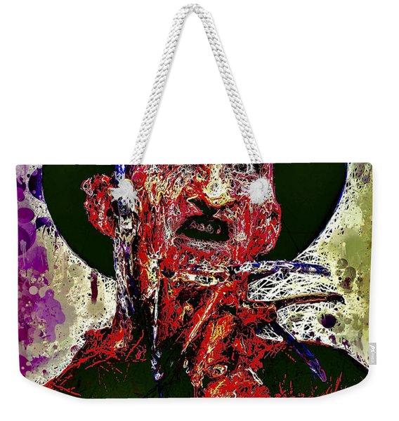 Weekender Tote Bag featuring the mixed media Freddy Krueger by Al Matra